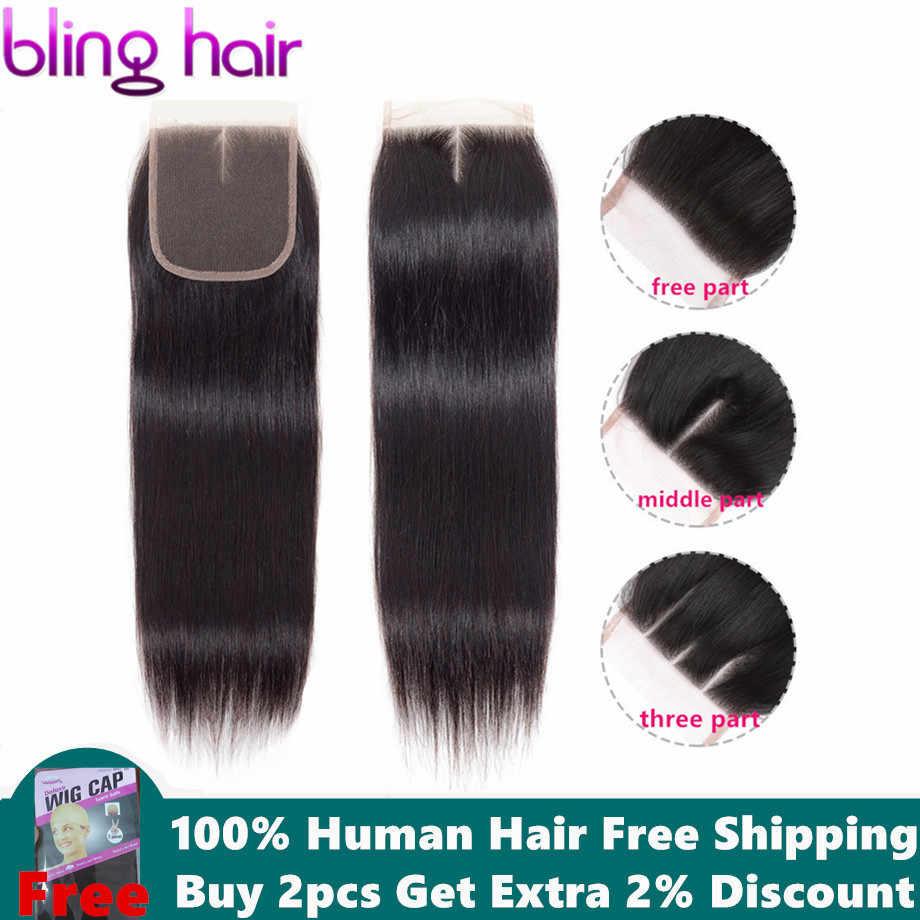 Pelo brillante 4*4 Cierre de encaje suizo Cierre de cabello humano recto peruano libre/Medio/tres partes con bebé de pelo Remy del pelo Color Natural