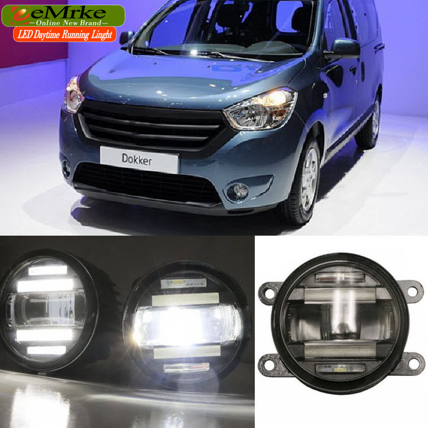 eeMrke Car Styling For Dacia Dokker 2012 - up 2 in 1 Multifunction LED Fog Lights DRL With Lens Daytime Running Lights eemrke car styling for opel zafira opc 2005 2011 2 in 1 led fog light lamp drl with lens daytime running lights