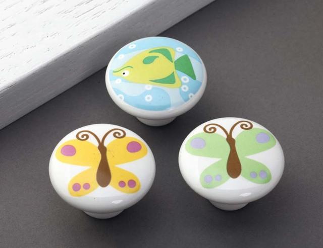 Sala de niños de dibujos animados mango lindo mariposa perilla cajón handlle puerta de la mano a dibujar un gran círculo de cerámica mango últimas CP477