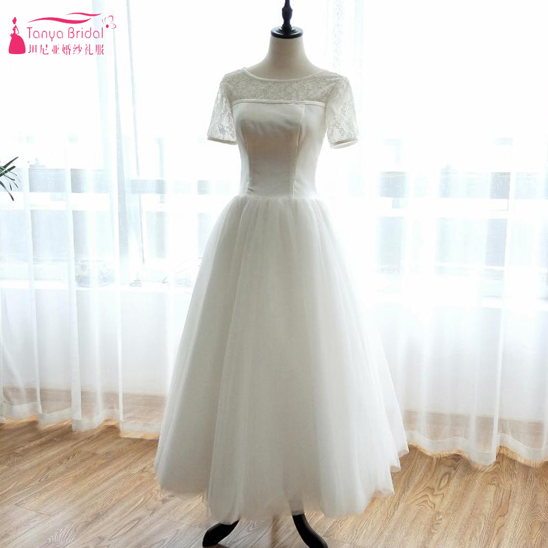 Cap Sleeve Tea Length Wedding Dresses 2018 Vintage Sheer Back Tulle Short Wedding Dress Bridal Gowns Vestido De Casamento ZW037