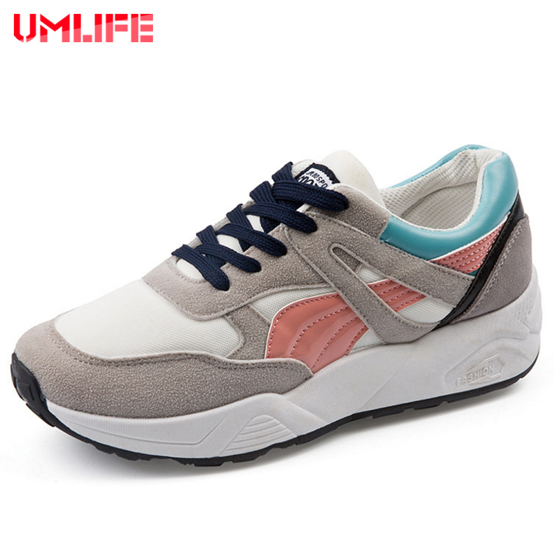 UMLIFE Running Shoes For Women Mesh Breathable Women's Sneakers & Plus Velvet Warm Winter Sport Shoes Outdoor Lace-Up Sneakers lace up flatform velvet sneakers