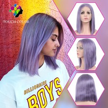 цена на Smoke Purpel Straight Short Blunt Cut Bob Wig 13x4 Lace Front Wigs Pixie Lace Wig Ombre Human Hair Wig HD Transparent Lace Wig