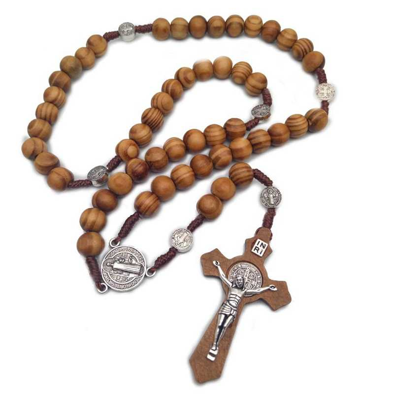 2019 New Fashion Handmade Round  Bead Catholic Rosary    Cross Religious brown  Wood Beads  Mens Rosary Necklace