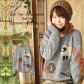 Autumn Japanese Mori Girl Cute Little Cartoon Animal Sweater Pullover Women Loose Printed Cotton Tricot Knitting Sweaters T163