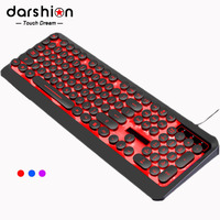 Russian English Gaming Keyboard Retro Round Keycap Colorful Breathing Backlit 3 Color Light panel USB Wired For Laptop PC