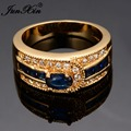 JUNXIN Brand Unique Design Men Women Blue Ring With Crystal AAA Zircon Promise Engagement Rings For Couples
