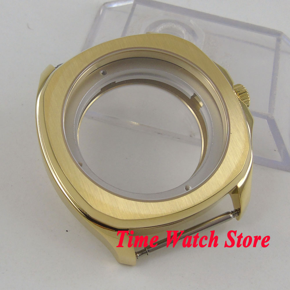 Parnis 40mm vergulde 316L horloge case Sapphire crystal see through back case Fit ETA 2836 miyota 8215 beweging c4-in Horloge Voorkant van Horloges op  Groep 2