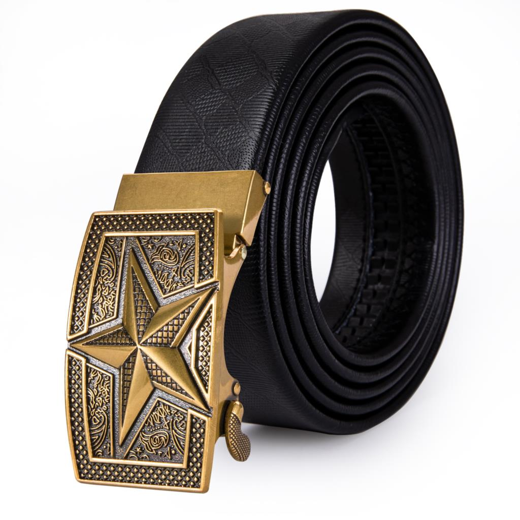 Gold  Designer Mens Belts Buckles Cow Leather Belts For Men Five-pointed Star Top Quality  Fashion Automatic Buckle Barry.Wang