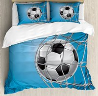 Soccer Duvet Cover Set, Goal Football in Net Entertainment Playing for Winning Active Lifestyle, 4 Piece Bedding Set