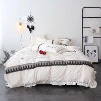 Белая принцесса черный бант кружева вышитые 60 S Египетский хлопок постельное белье с оборками набор пододеяльников постельное белье льняно