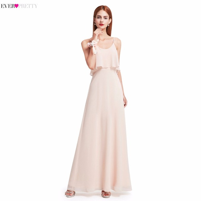 Elegant Bridesmaid Dresses Ever Pretty EP07131 Long Chiffon Wedding Occasion Gowns Spaghetti Straps Ruffles Girl Dress