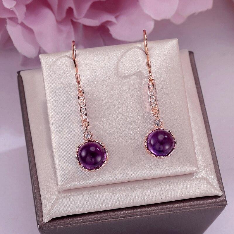 100% naturel améthyste boucles d'oreilles goutte 925 en argent Sterling rond violet pierres précieuses bijoux fins pour les femmes Long Dangle boucle d'oreille CCEI019