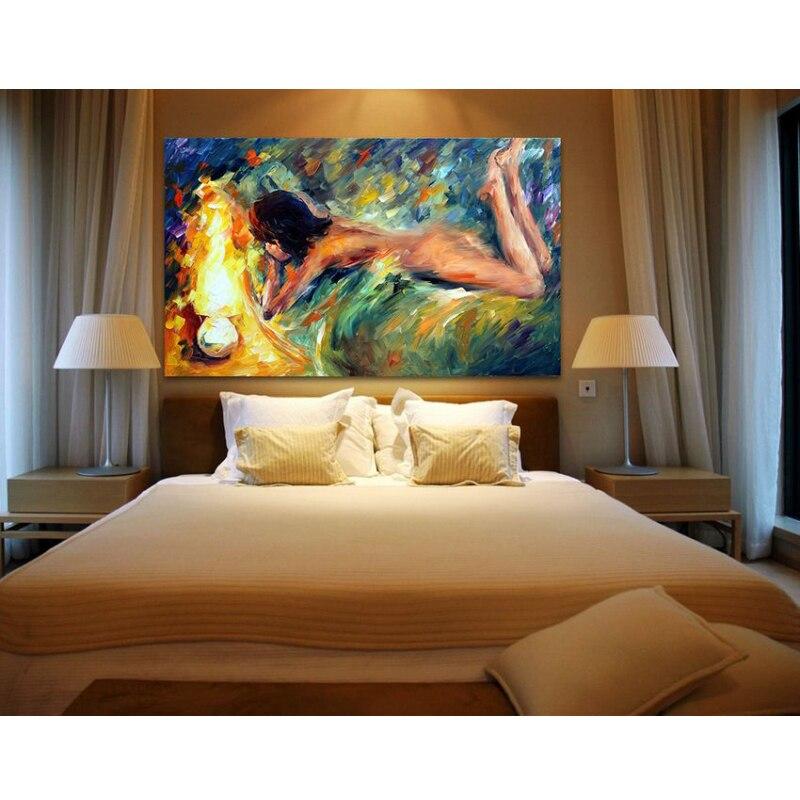 US $7.79 22% OFF Nackte Frau Auf Bett Leinwand Malerei Palettenmesser  ölgemälde Nackt Bild Kunst Für Schlafzimmer Hotel Wand Dekoration  Ungerahmt-in ...