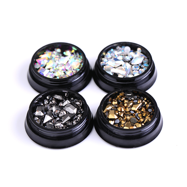 Flat Back Nail Rhinestones Gold Gray AB Color Color Mix-size Nail Art Decorations Nail Art Manicure 3D Nail Stones Gems