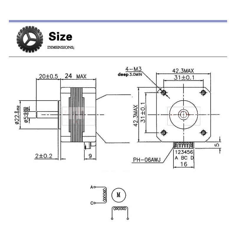 Detail Feedback Questions about nema 17 42 stepper motor 23mm 0.42 on