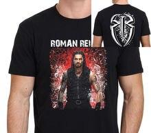 Quality T Shirts Printing T ShirtShort O-Neck Christmas ROMAN REIGNS Pro Wrestling T-Shirt Black Size S-to-XXL