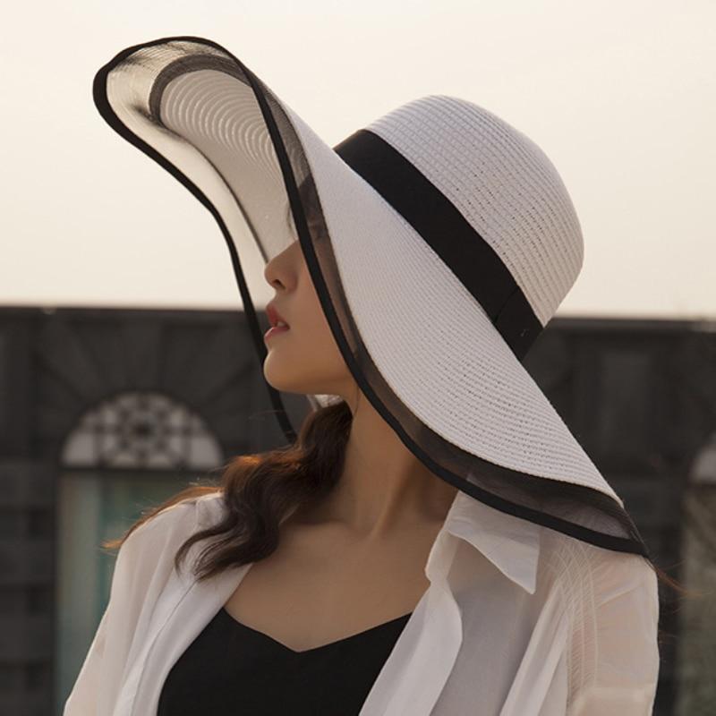 HT2504 Sun Hat Summer Anti-UV Lady Wide Brim Hat Women Solid Plain Floppy Summer Straw Hats For Women Female Mesh Brim Beach Hat