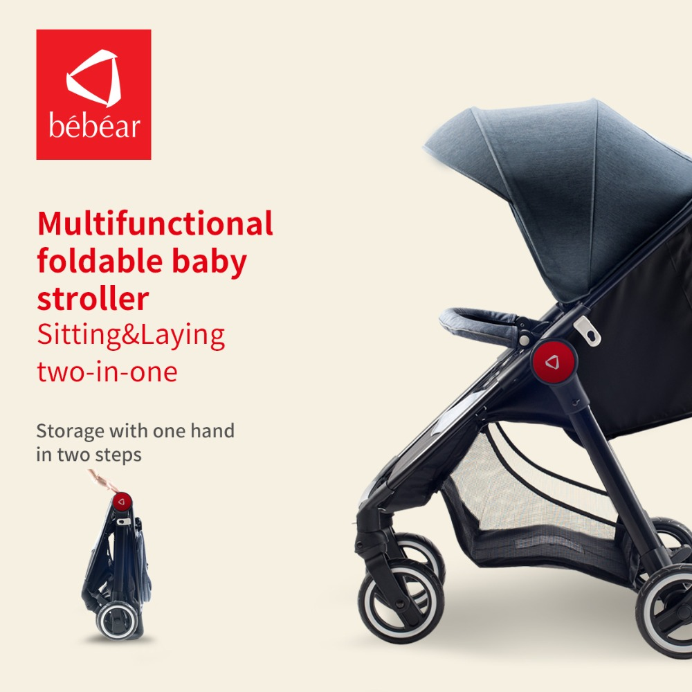 Bebear Baby Stroller Light Weight Baby Pram Foldable Pushchair High Landscape Portable Babies Carriage for Newborns avoid the ultraviolet radiation with the canopy pushchair baby build a safe soft environment for babies boys and girls pushchair