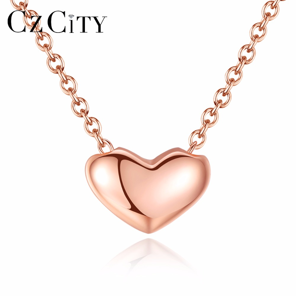 CZCITY Heart Shape Sterling Silver Necklaces Rose Gold Plated for Women Friend Simple Love Necklace Pendant Jewelry image