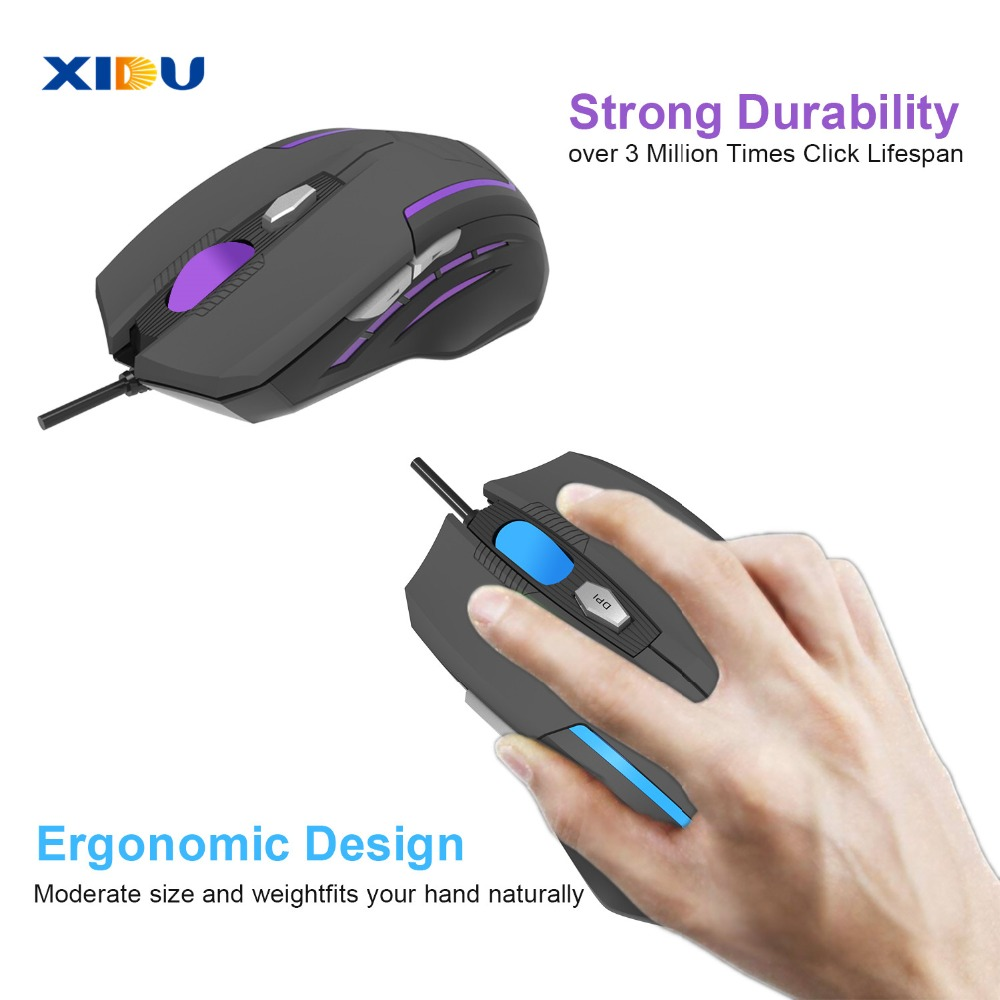 Image 5 - XIDU Mouse USB 3.0 Wired gaming Mouse Adjustable Optical Computer Mouse For Laptop pc with LED Light-in Mice from Computer & Office