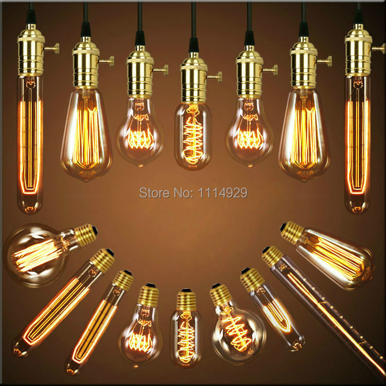 Single American Vintage Pendant Lights Kobber Lamp Holder Edison Pærer Industrielle Lamper E26 / E27 110-220V 110cm Antikke Pærer