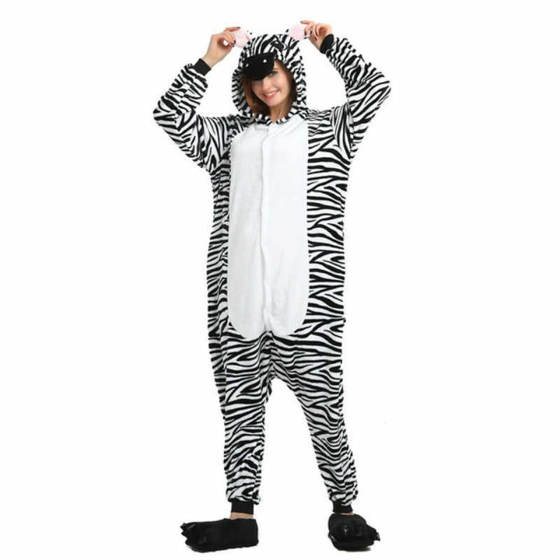 Зимняя Фланелевая пижама кигуруми, пижама для мужчин и женщин, плюшевая цельная Пижама с животными, комбинезон, пижама в стиле аниме, пара