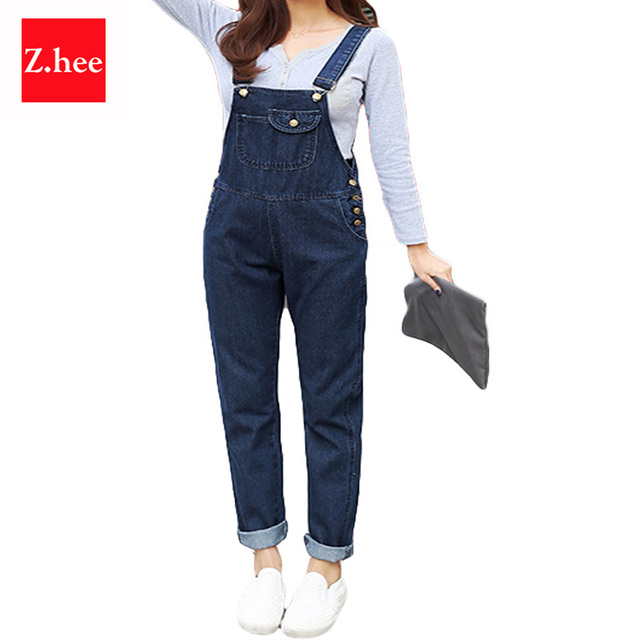 S-5XL Puls Size Loose Straps Denim Rompers Womens Jumpsuit Boyfriend Overalls For Women Jumpsuits And Rompers