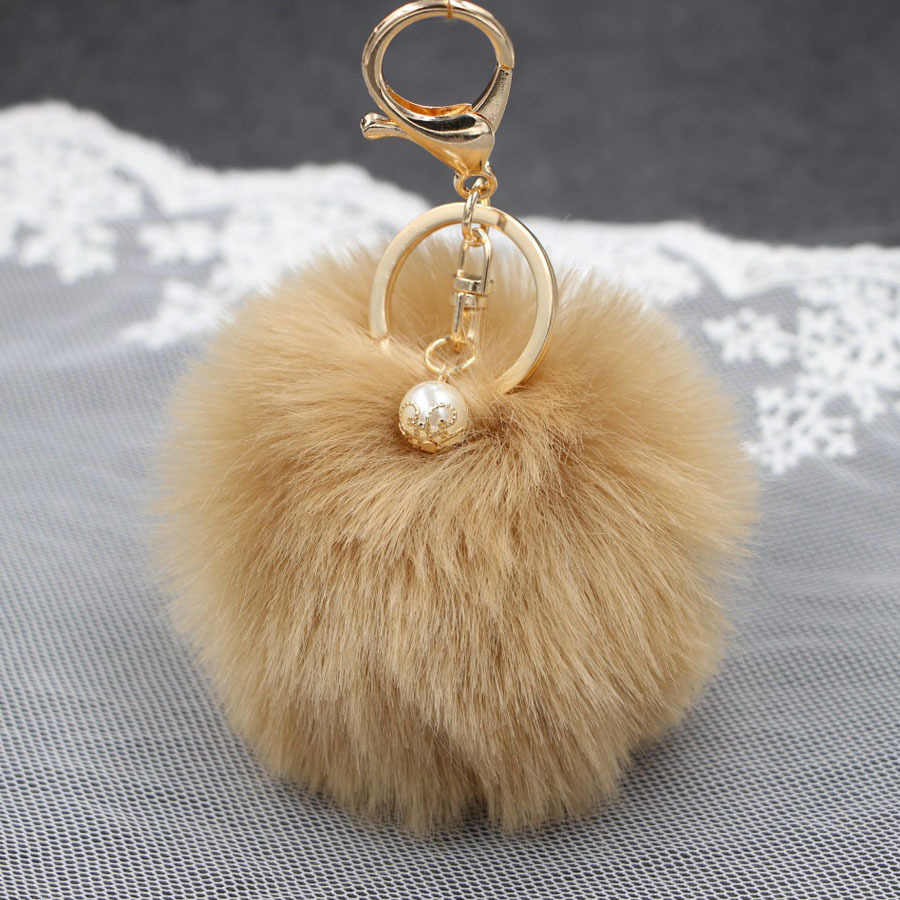 Chaveiro de pele de coelho da pérola do falso bola chaveiro anel de pelúcia porte clef pompom de pele artificial chaveiro ornamento pom pom pingente