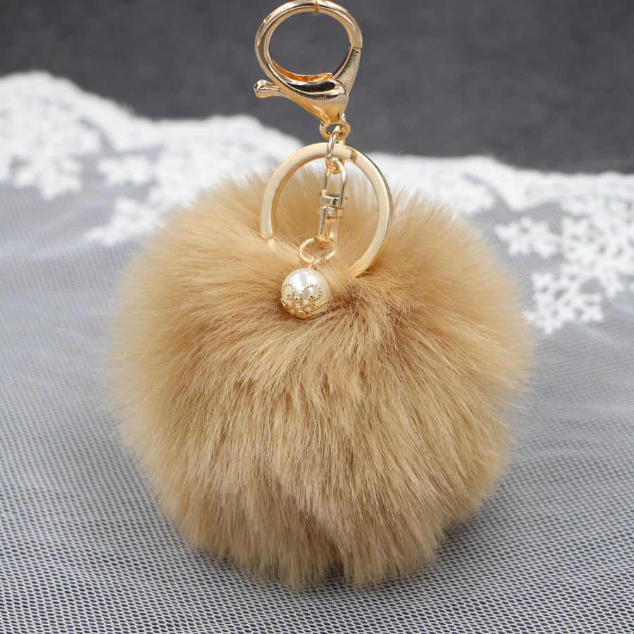 LLavero de piel de conejo de imitación de perla caliente anillo de bolso de mano de felpa porte clef de piel Artificial pompón llavero adorno pom colgante
