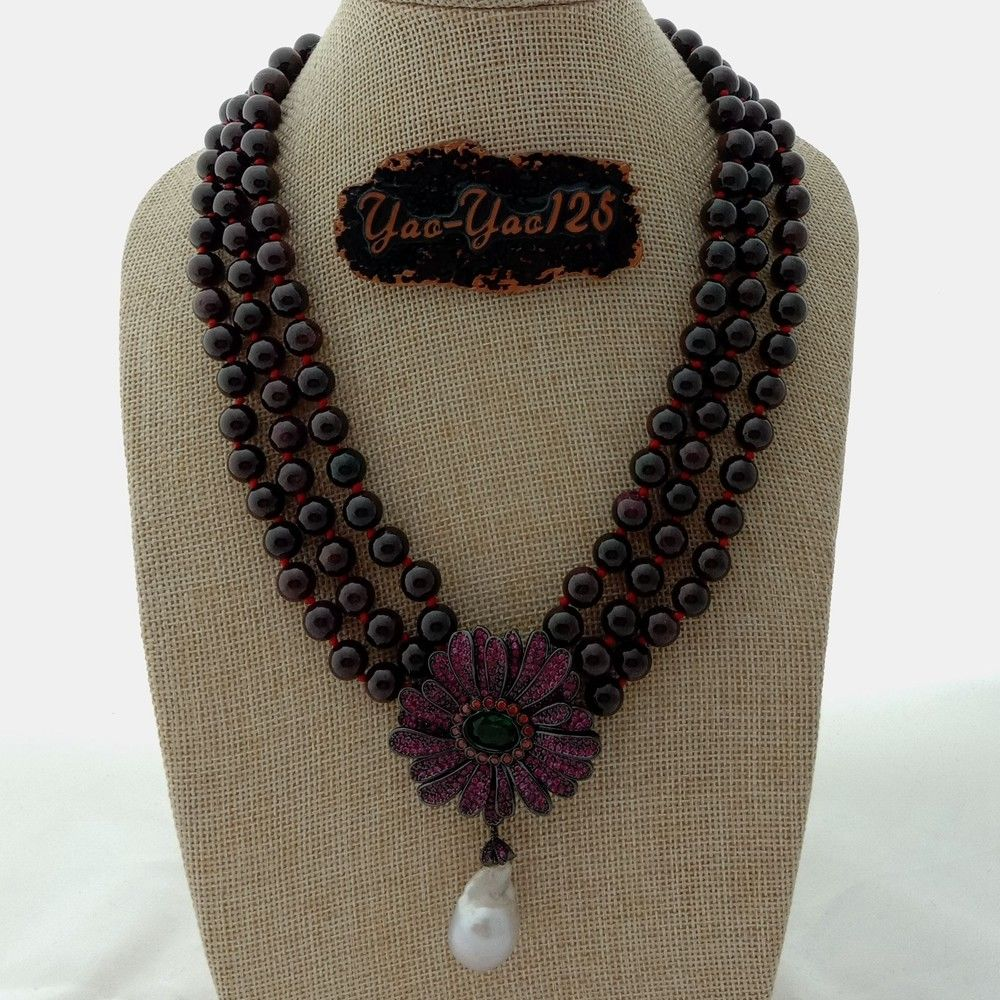 Jewelry & Accessories Expressive 19 3 Rows Garnet Necklace White Kehis Pearl Cz Flower Pendant Exquisite Craftsmanship; Chain Necklaces