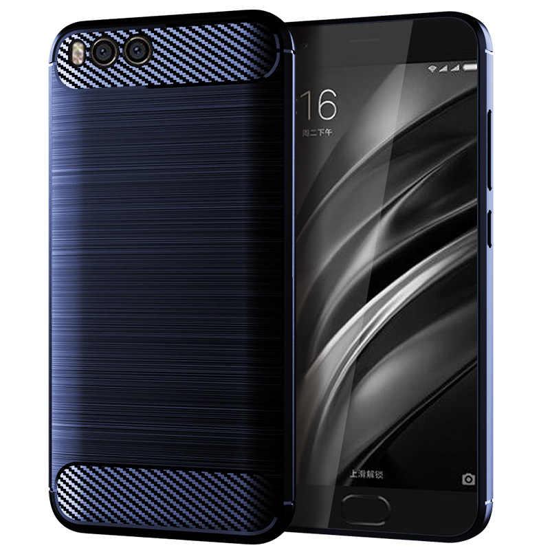 Для Xiaomi Mi 6 случаев телефона силиконовые ТПУ углеродного волокна Назад Броня противоударный чехол для Xiaomi mi6 M6 крышка телефон оболочки