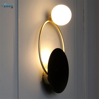 European Noble Living Room Decoration Led Wall Lamp Halo Glass Ball Bar Stairs Bedroom Lamp Home Decor Elegant Black Wall Light