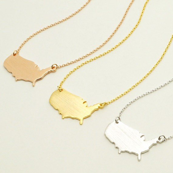 1 Pcscute Usa Map Geometric America Country Pendant Necklaces United States Map Michigan State Charm Necklace