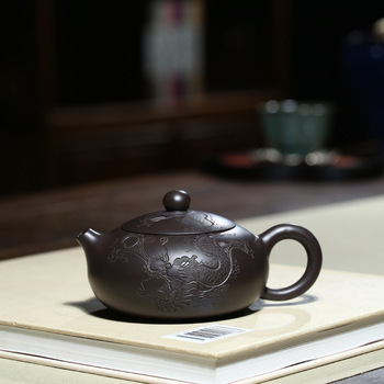 Yixing are recommended by Xia Tao all hand black clay figurine Long Bian xi shi ceramic tea-pot travel tea set gift