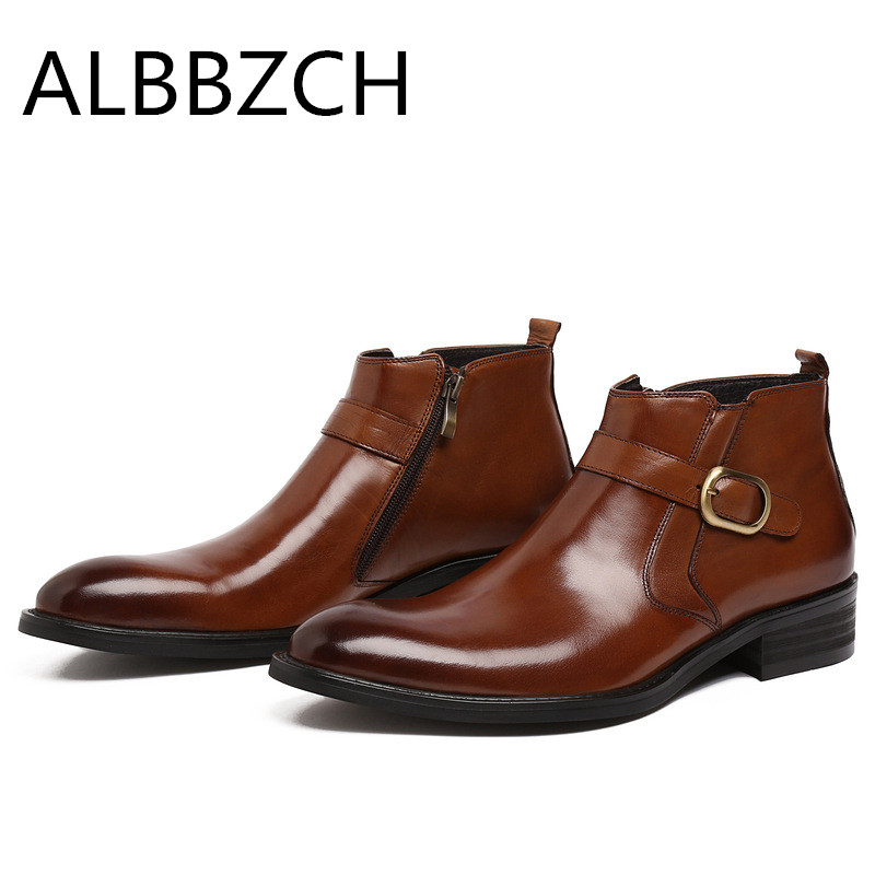High quality cow leather men boots round toe zip design mens business dress ankle boots wedding shoes daily office work boots 44High quality cow leather men boots round toe zip design mens business dress ankle boots wedding shoes daily office work boots 44