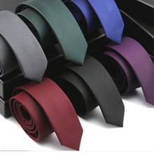 Mens  Narrow Neckwear Skinny Neck Tie High Quality Solid Color Ties Wedding Party