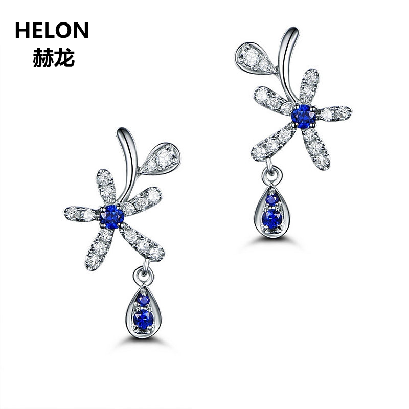 Solid 14k White Gold Natural Diamonds Stud Earrings Natural Sapphires Women Earrings Engagement Wedding Fine Jewelry цены онлайн