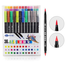 36 PCS Dual Water Color Brush & Fine Tips Art Marker Pens for Sketch Paint Craft Drawing Doodle Illustration
