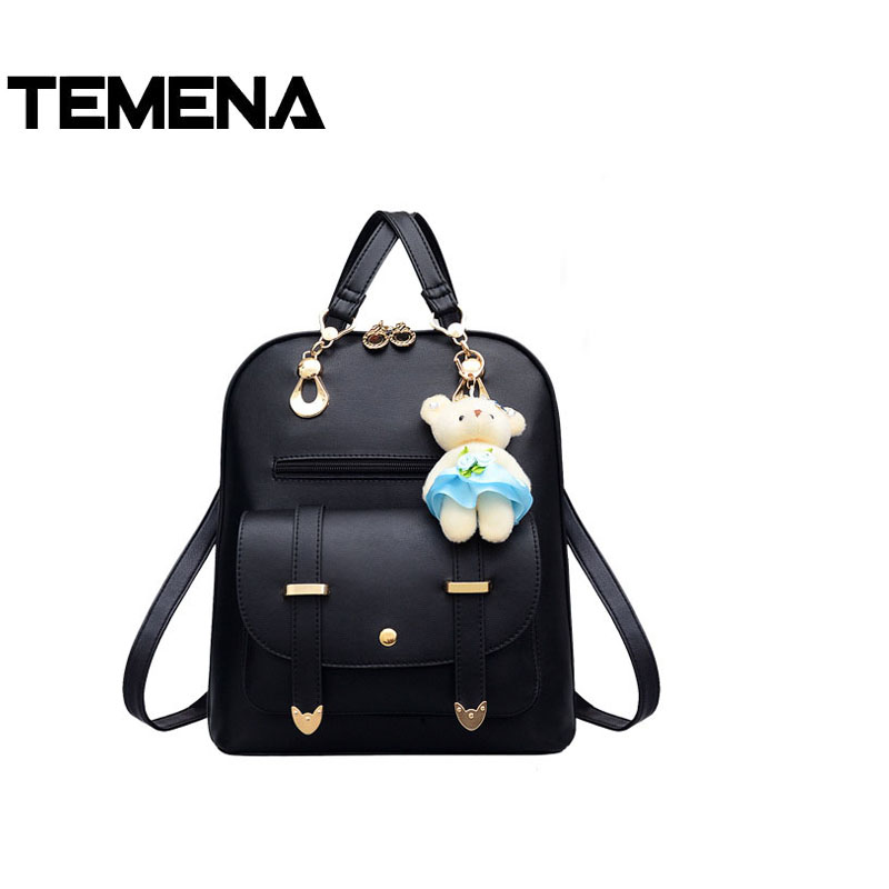 Temena Bear Backpack Female School Bags For Girls Backpacks For Women Bag Travel Shoulder Bags PU Leather Backpack sac a main doodoo fashion streaks women casual bear backpacks pu leather school bag for girl travel bags mochilas feminina d532