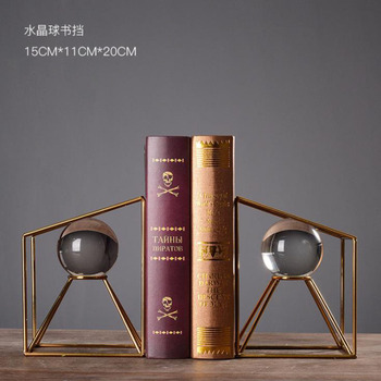 1 pair Modern Simple Style Decoration Crafts Bookends Crystal Ball Bookends Book Shelf Living Room Office Decor