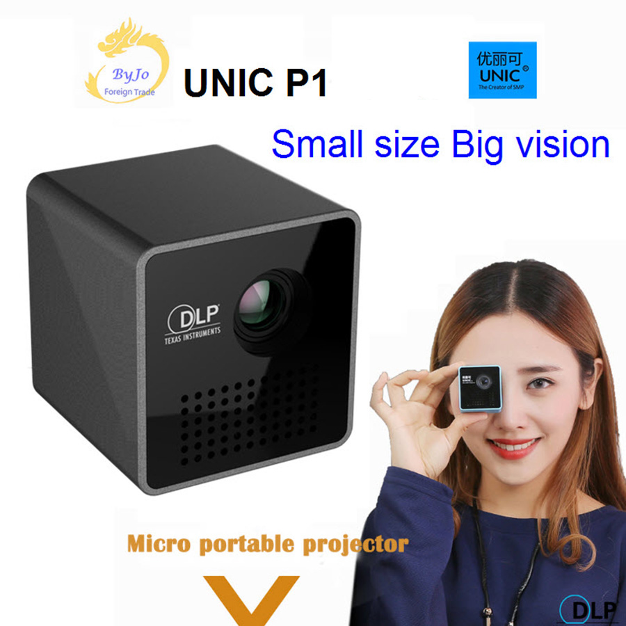 D'origine UNIC P1 Projecteur De Poche Projecteur de Cinéma À Domicile Projecteur Beamer Batterie Mini DLP P1 projecteur mini projecteur led