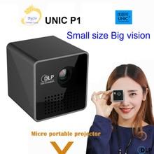 원래 UNIC P1 프로젝터 포켓 홈 영화 프로젝터 Proyector 비머 배터리 미니 DLP P1 프로젝터 미니 led 프로젝터