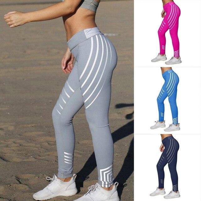 4cc549f1e07ece Vertvie Sport Leggings For Women Fitness Yoga Striped Pants Summer Slim  High Waist Running Jogger Pants Elastic Gym Sport Leggin