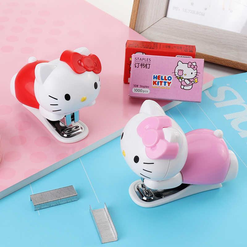 Olá Kitty Mini Grampeador Encadernação Grampos de Papel Portátil