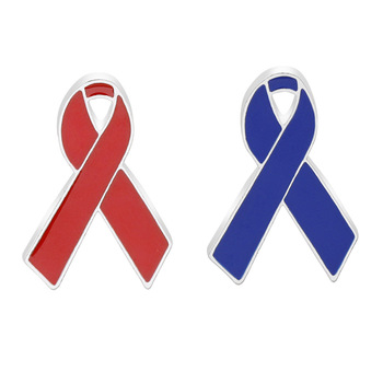 Men And Women Red and Blue Ribbon Brooch World AIDS Day and Ocean Conservation Association Promotion Logo Brooch Wholesale image