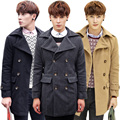 Men 2015 New Trech Coat Clothing Slim Korean Coat Casual Outwear Asian size Long Stylish Clothing UF101