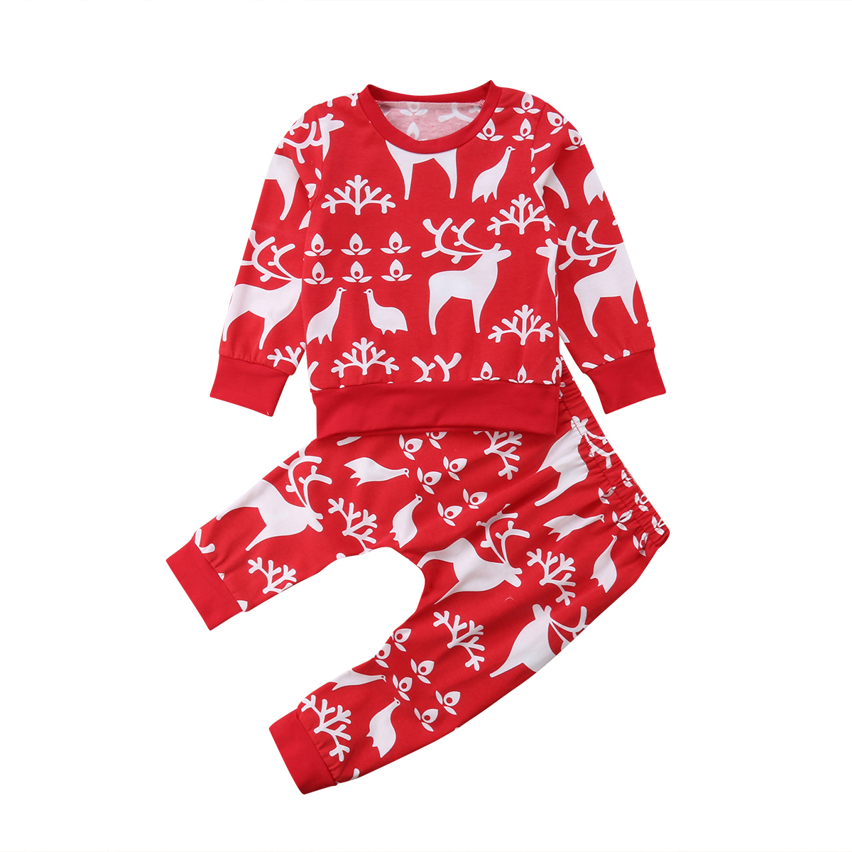 CA Hot Infant Baby Boys Girls Red xmas Reindeer Tops+Pants Outfits Clothes pudcoco baby kids girls boys xmas deer clothing set baby boys girls clothes set autumn winter warm outfits deer tops hoodie tops pants cute animals kids baby boy clothing sets