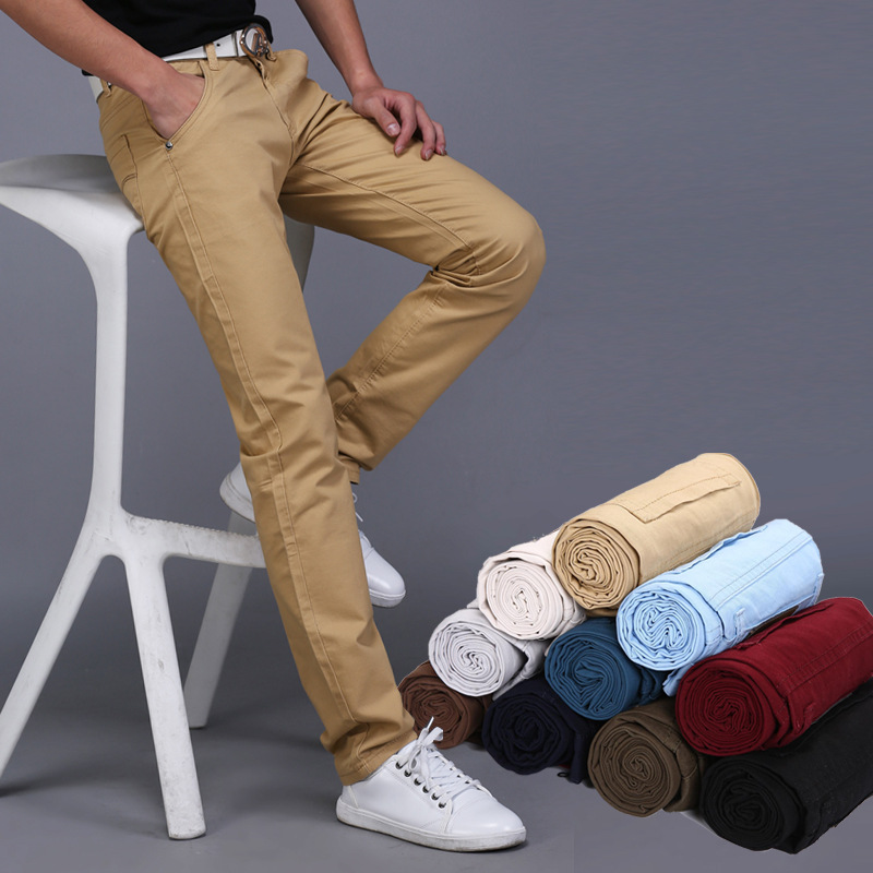 2019 New Spring Summer Casual Wear Pants Men Cotton Slim Fit Chinos Fashion Trousers Male Brand Clothing Plus Size 9 Colour 2
