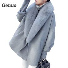 Elegant Women Spring Wool Coats Fur Collar Plus Size Grey Warm Loose Woolen Coat Fashion Thicken Long Jackets casaco feminino