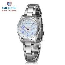 SKONE Mujeres Luminosos Relojes de Primeras Marcas de Moda de Lujo para Mujer Vestido de Diamante Reloj de Cuarzo Relogio Feminino Montre Femme Hodinky